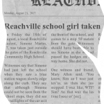 Reachville school girl taken