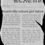Reachville school girl taken