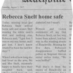 Rebecca Snelt home safe